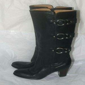 Women's Frye Boots Black Heel Metal leather sz 6